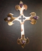 Metal Wall Art Cross with Amethyst Stones