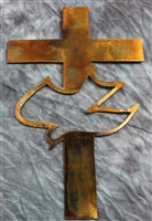 Cross and Dove Metal Wall Art