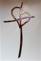 Crossed Heart Cross Metal Wall Art Accent