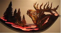Elk in the Woods Curved Metal Art
