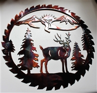Deer Mountain Saw Blade Metal Art