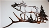Elk Antler Scene Metal Wall Decor