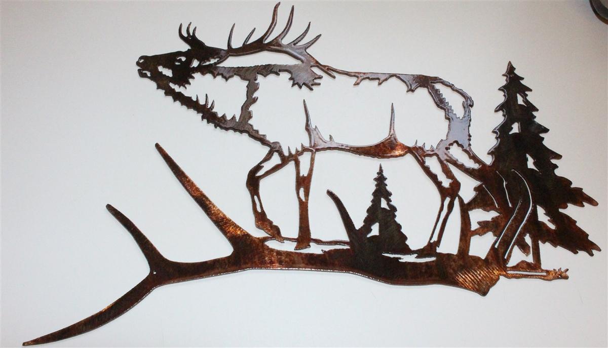 Elk Antler Scene Metal Wall Decor