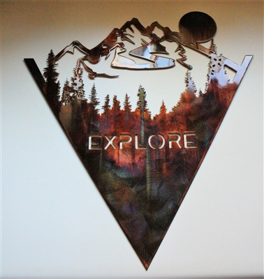 EXPLORE THE MOUNTAINS Metal Wall Art