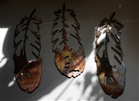 Feathers set of 3 Copper/Bronze Metal Wall Art