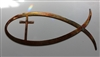 Christian Fish Symbol w/ Cross Metal Wall Decor