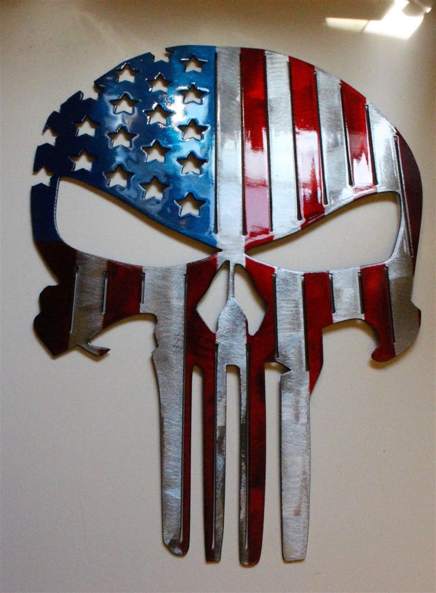American Flag Punisher Skull Metal Wall Art