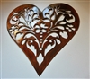 Ornamental Floral Heart Metal Art