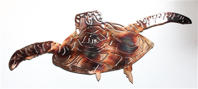 Forward Swimming Sea Turtle Metal Wall Art