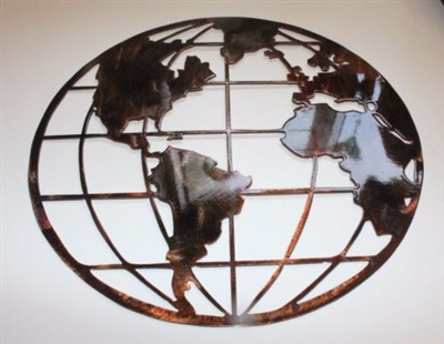 Metal Wall Art Globe Map