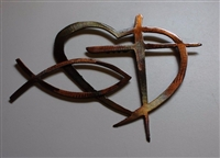 Heart Cross and Fish Metal Wall Art Decor