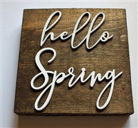 hello spring pallet wood sign