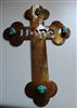 Hope Metal Wall Art Cross with Turquoise Stone Accents