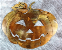 Jack O Lantern Pumpkin Metal Wall Art Decor