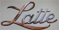 """Latte"" Metal Coffee Word Art Decor"