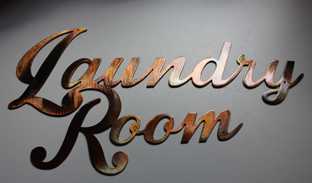 Laundry Room Sign Metal Wall Art Decor Copper Bronze Plated