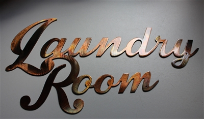 Laundry Room Sign Metal Wall Art Decor Copper/Bronze Plated