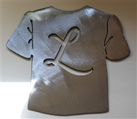 T-shirt w/ letter L, Laundry Room Metal Art Decor