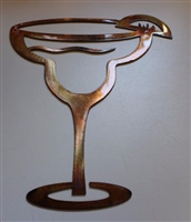 "Margarita Glass Copper/Bronze Metal Art - 10"" tall"