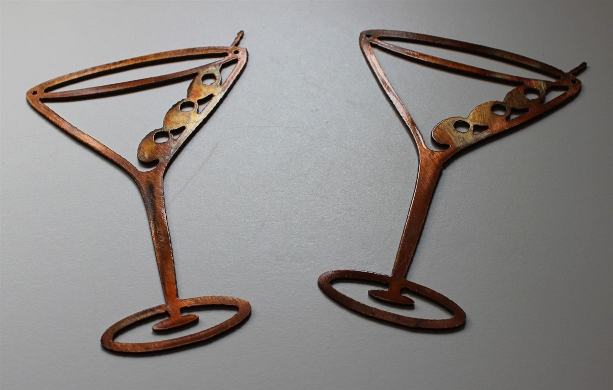Copper Bronze Martini Glasses Metal Wall Art Decor Set Of 2