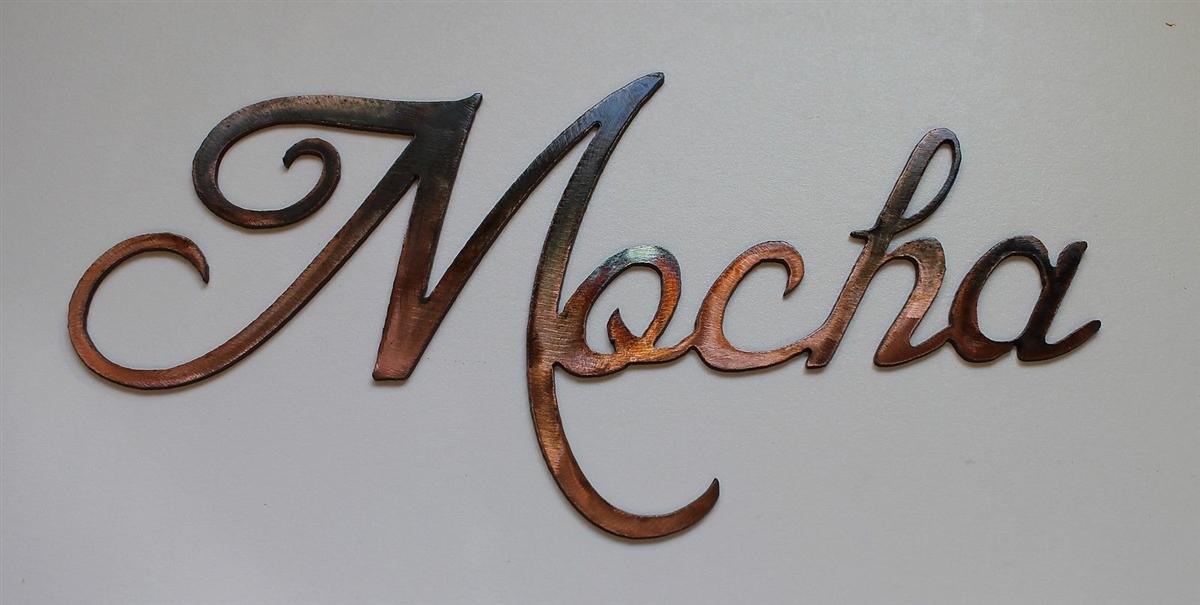 Quot Mocha Quot Metal Coffee Word Art Decor