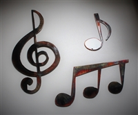 Music Notes Set of 3 pieces Metal Wall Art by HGMW copper/bronze plated