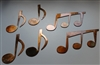 Music Notes set of 6 Metal Wall Art Copper/Bronze Plated