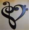 Musical Heart Note Metal Wall Art Accent