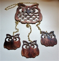 Owl and Owl Chicks Metal Wall Art Wind Chime/Mobile