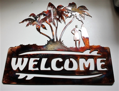 Palm Tree Surfer Welcome Metal Wall Art