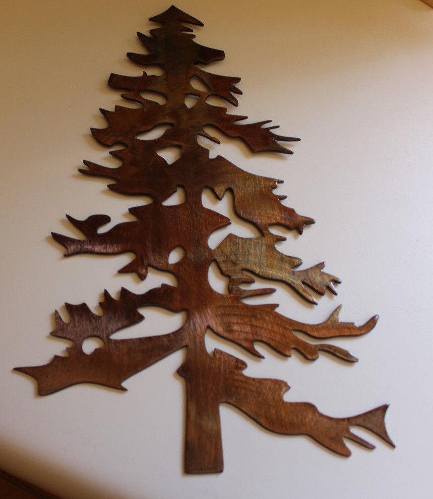 Wall Decor Pine Trees : Outdoor pine tree metal wall art decor