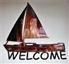 Sailboat Welcome Metal Wall Art