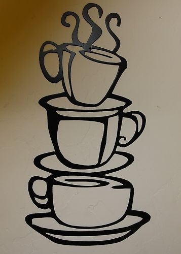 Stacked Coffee Cups Metal Wall Art Decor