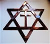 Star of David with Cross Metal Wall Art