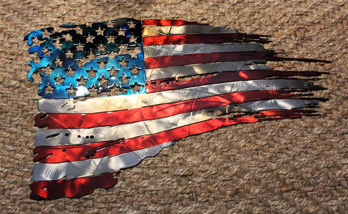 Patriotic Tattered U0026 Torn U0026 Distressed American Flag Wall Art ...
