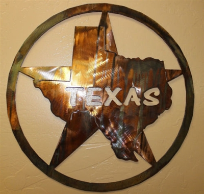 Texas Star Metal Wall Art Decor