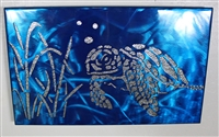 Metal Wall Art Canvas Swimming Turtle Metallic Blue Metal Art
