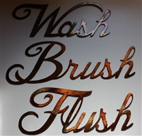 """Wash, Brush, Flush"" Metal Wall Art Decor"