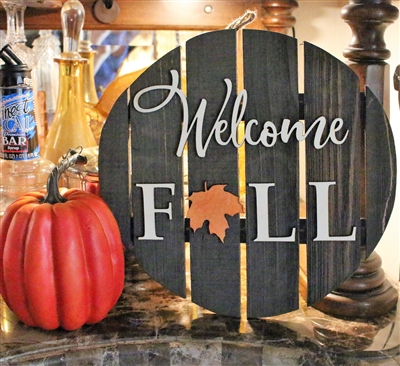Welcome Fall Wood Circle Pallet Wood Sign