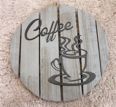'Coffee' Wood & Metal Plaque Decor