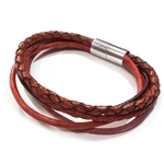 Mini Mixed Leather Bracelet - Red
