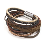Grande Mixed Leather Bracelet - Earth