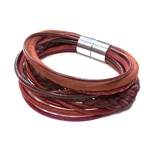 Grande Mixed Leather Bracelet - Red