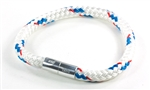 "Suki Nautical - 1/4"", White with Blue-Red Stripe"