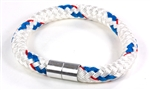 "Suki Nautical - 5/16"", White with Blue-Red Stripe"
