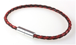 "Suki -  Solo 3mm (1/8"") Braided Leather Black & Red"