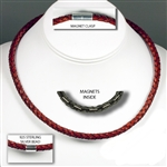 "Suki - 6mm (1/4"") (1/4"") PRO Magnet Therapy Braided Leather Necklaces"