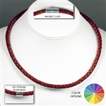 "Suki - 6mm (1/4"") (1/4"") Braided Leather 925 Sterling Silver Necklaces"