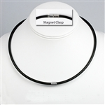 "Suki - 4mm (5/32"") (5/32"") Black Rubber 925 Sterling Silver Necklaces"