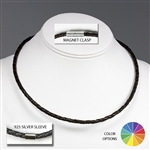 "Suki - 4mm (5/32"") (5/32"") Braided Leather 925 Sterling Silver Necklaces"